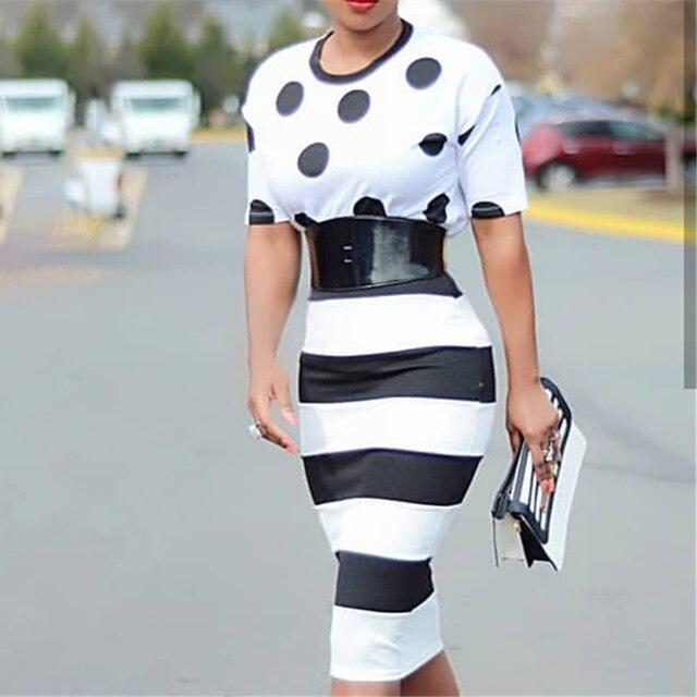 Black White Big Polka Dot Striped Dress 10