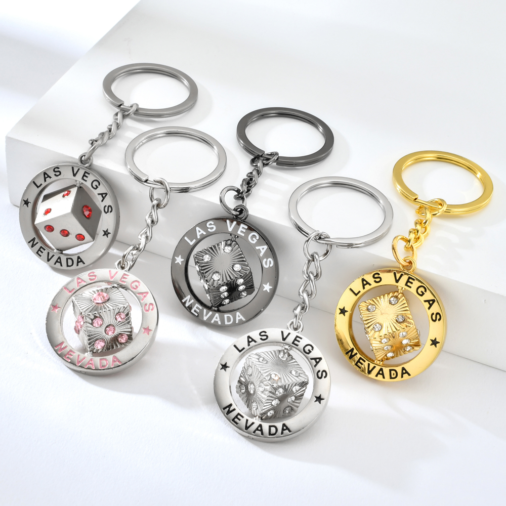Vicney Trendy Rhinestone Five Colors Dice Las Vegas Keychain Punk Car Bag Women Key Chain Sturdy Jewelry Gifts Portable Keyrings