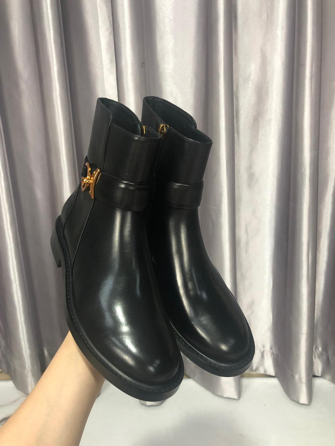 Vibsterimma High Quality Black Leather Gold Ring Ankle Boots Women Genuine Leather Boots Women Flat Side Zip Motorcycle Booties - 2