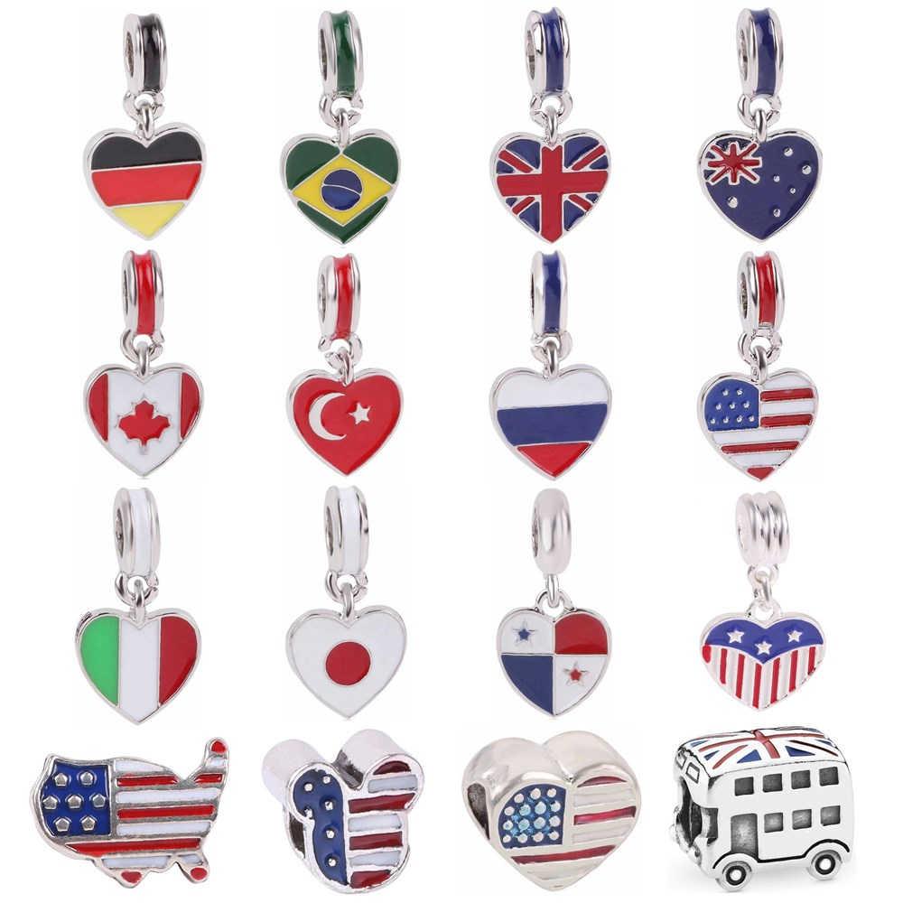 Couqcy אביב חדש מדינה לבחור לאומי דגל תליית חרוז מתאים אירופאי מקורי פנדורה סגולה צמידי DIY מתנה