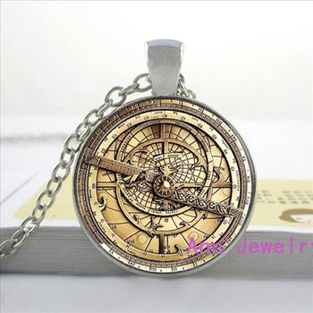 Steampunk Drama Falls Mysteries Pendant Necklace Glass Mens Astrolabe Womens image