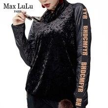 Max LuLu 2019 роскошные женские зимние Бархатные Топы в Корейском стиле, женские футболки с высоким воротником, теплая Уличная Повседневная футболка размера плюс