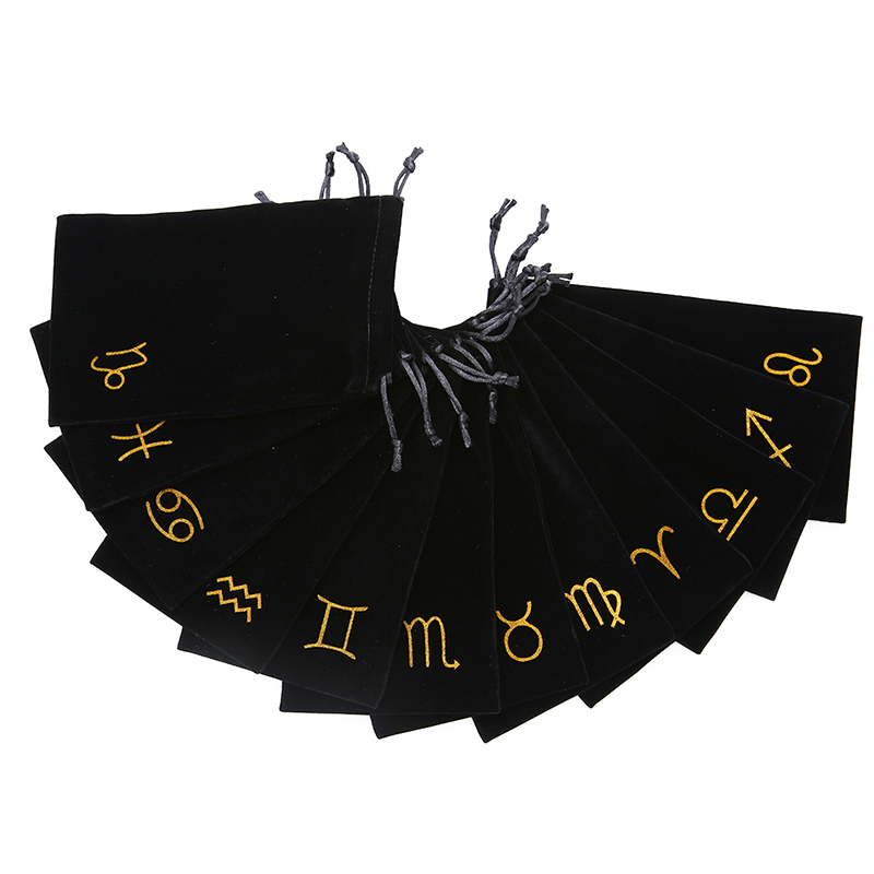 1PCS 12 Constellations Velvet Pentagram Tarot Card Storage Bag Toy Home Mini Drawstring Package For Playing Cards