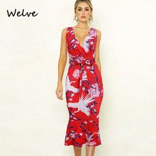 Welve red dress Summer Fashion Sexy Printed Lotus Leaf Dress Suit-dress Dress Sexy Printing Lotus Leaf Lace Dress