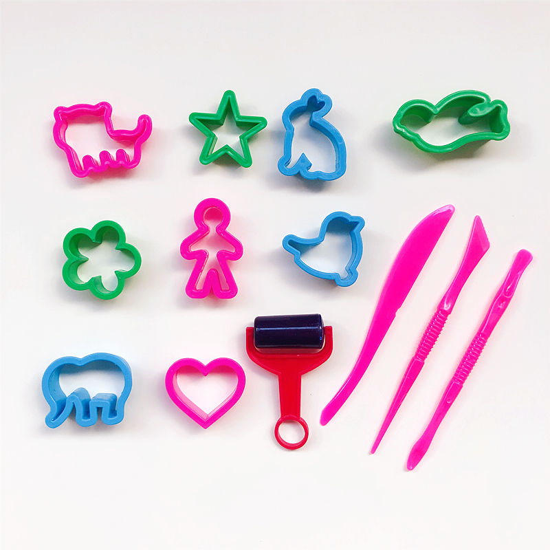 13 Pcs Kids Plasticine Tools Children Colored Clay Moulds Toys Funny Dough Modelling Tools With Knife Roller Toys