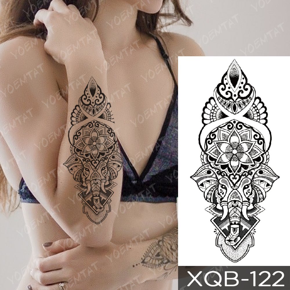 Waterproof Temporary Tattoo Sticker Snake Flower Rose Flash Tattoos Lace Fox Lion Tree Body Art Arm Fake Sleeve Tattoo Women 5