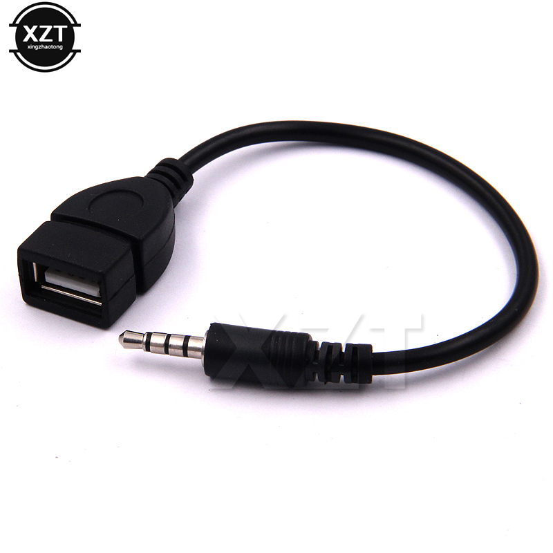 3.5mm Male Audio AUX Jack to USB 2.0 Type A Female OTG Converter Adapter Cable for Car MP3