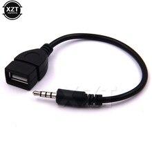 Entrada aux de áudio macho de 3.5mm, conversor otg de entrada aux para usb 2.0, cabo adaptador para carro mp3