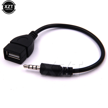 3.5mm Male Audio AUX Jack to USB 2.0 Type A Female OTG Converter Adapter Cable for Car MP3 image
