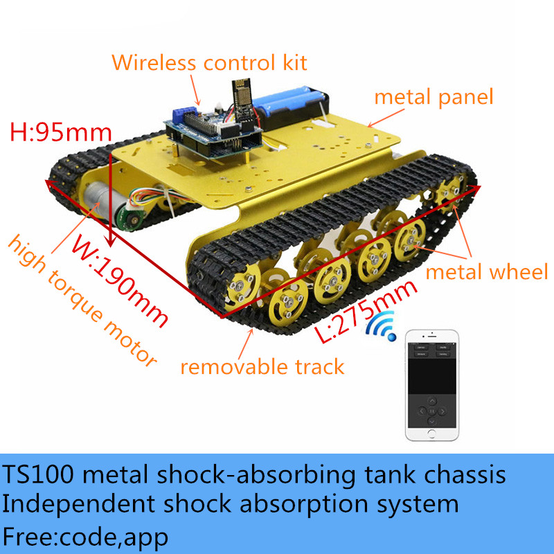 Wifi/Bluetooth/PS2 Handle Wireless Control <font><b>TS100</b></font> Metal Smart Shock-Absorbing RC <font><b>Tank</b></font> Chassis Kit 12V DC Motor DIY For Arduino image