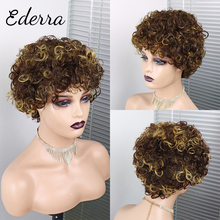Afro Kinky Curly Wigs Short Cut Wig 100% Brazilian Curly Human Hair Wig For Black Women Full Machine Wigs Short Pixie Cut Wig