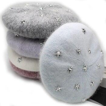 [Rancyword] موضة جديدة للنساء الأنجورا أرنب بلون القبعات أنثى قلنسوة قبعات الشتاء جميع المتطابقة الدافئة قبعة المشي مع النجوم