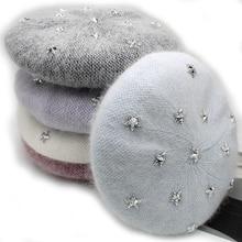 [Rancyword] Fashion New Women Angora rabbit Solid Color Beret Female Bonnet Caps