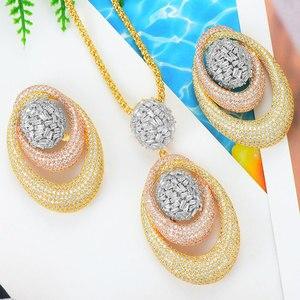 Image 1 - Godki novo luxo exclusivo círculo colar brinco conjuntos para o casamento feminino nupcial zircondubai cúbico high end conjunto de jóias 2019