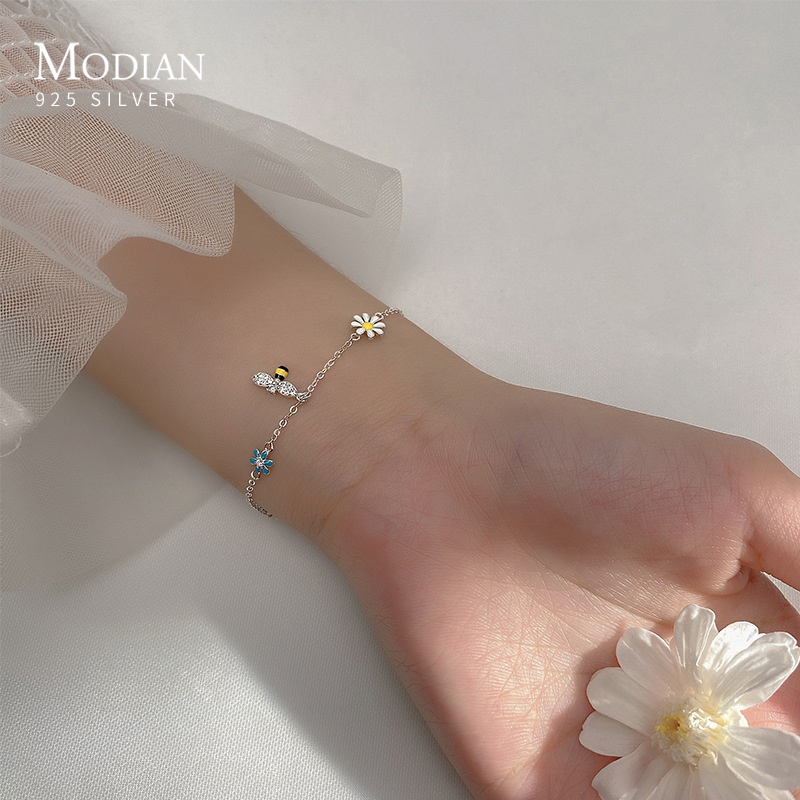 Modian Real 100% 925 Sterling Silver Clear CZ Lovely Bee Bangle Colorful Romantic Daisy Flower Bracelet for Women Fine Jewelry