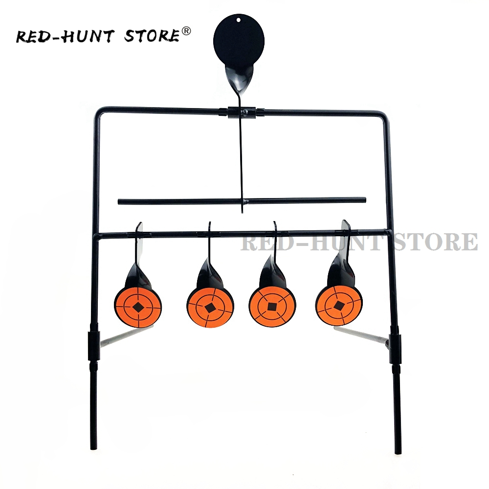 Steel Shooting Resetting Target Metal Stand Heavy Duty Hunting 5 Targets With 10pcs Target Stickers