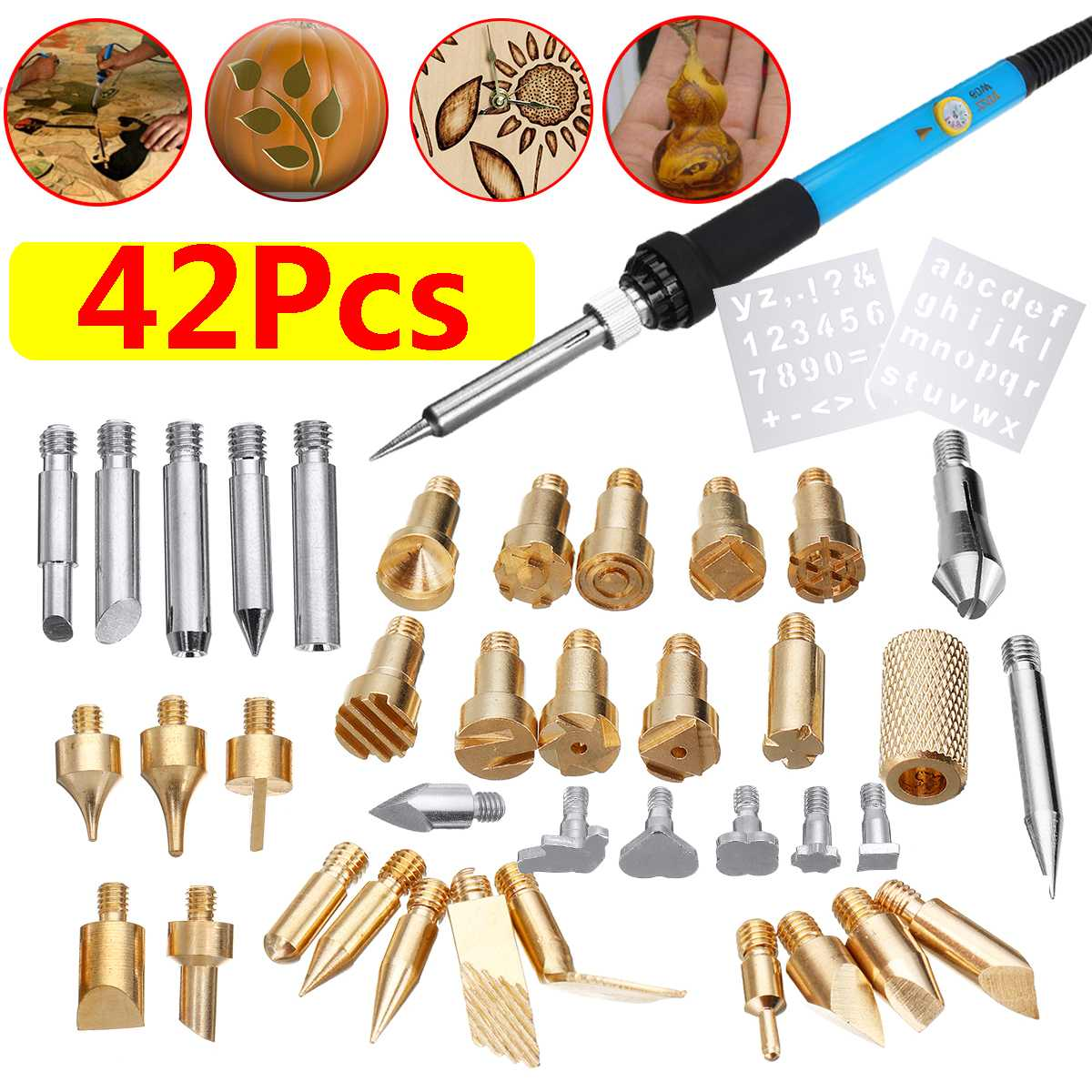 42Pcs Electric Soldering Iron Kit Wood Burning Pen Tip Pyrography Craft Tool  Repair For Woodworking 60W 110V/220V US/EU Plug