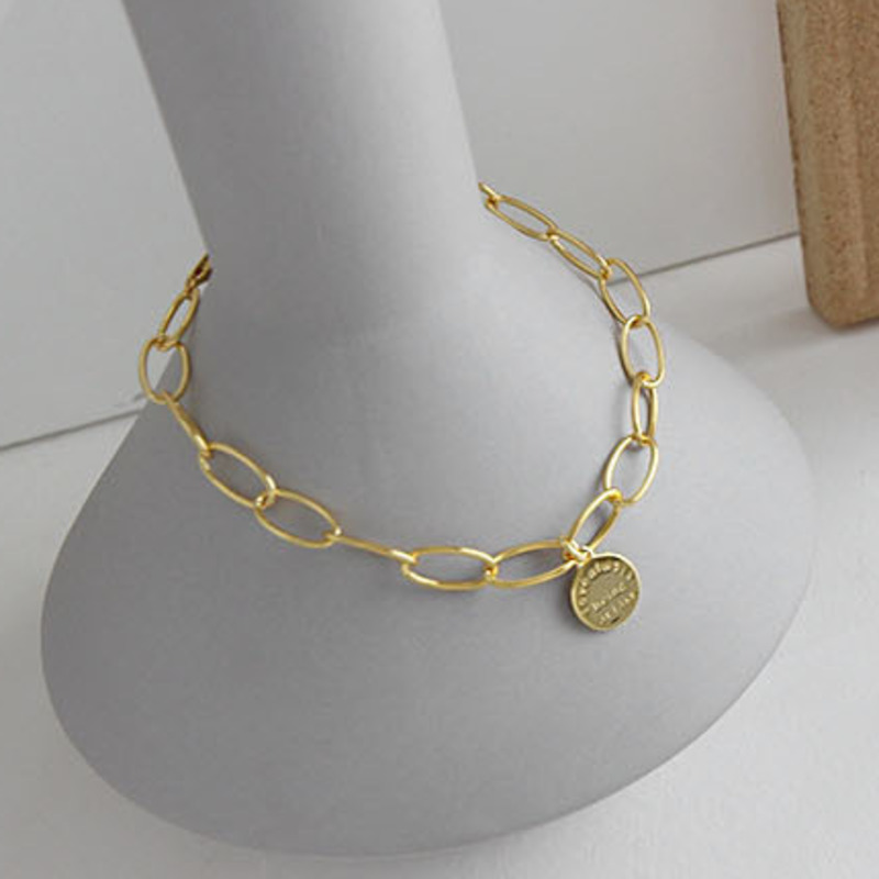 Geometry English Disk Gold Color Enkelbandje Zilver Foot Acessorios 925 Sterling Silver Anklets For Women Fine Anklet Jewelry