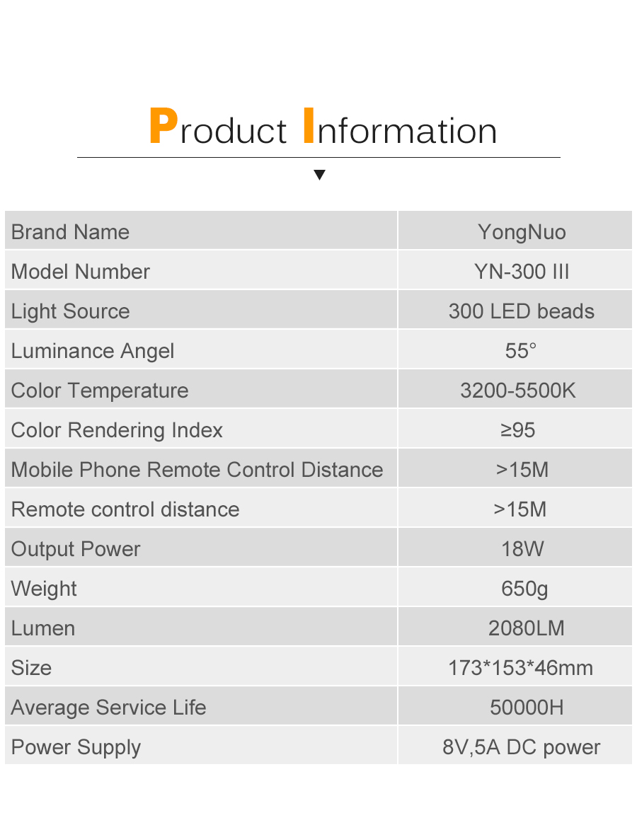 Ha83d39121c8d45e0999b2d903c6024e31 Yongnuo YN300 III YN300III 3200k-5500K CRI95 Camera Photo LED Video Light Optional with AC Power Adapter + NP770 Battery KIT