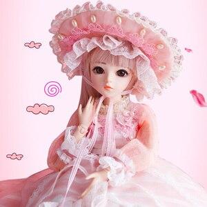 1/3 bjd boneca 60 cm 18 bola articulações bonecas com roupas completas peruca vestido sapatos de maquiagem brinquedos para meninas vestir-se melhores presentes de aniversário