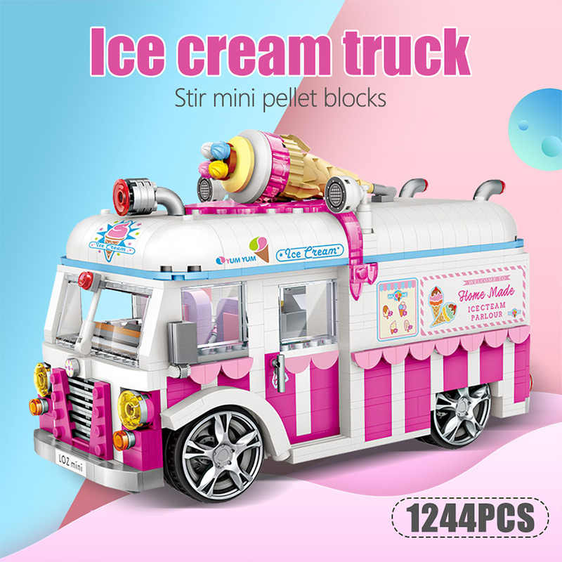 1244 قطعة شاحنة مثلجات كعكة حافلة شاحنة البسيطة بناء كتل التعليمية الخالق الأصدقاء DIY الوردي سيارة أرقام طوب لعب للبنات