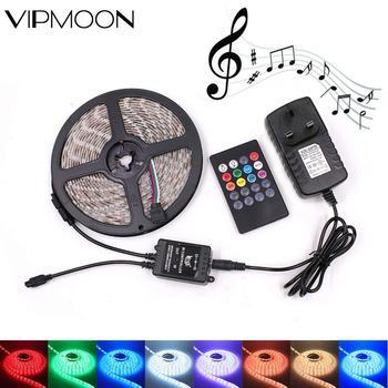 цена на LED Strip Light RGB 2835 Music Sync LED Light Strip 5m Non-Waterproof 12v Sound Sensor 20Key Control RGB Tape Backlight Ribbon