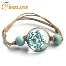 New Glass Ball Bracelet Jewwlry Wholesale Women Romantic Dry Flowers Bracelet & Bangle For Pretty Girls Gift pretty girls