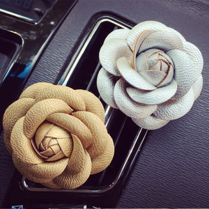 Image 3 - Car styling Camellia High Flower Car Accessories Female Air Outlet Perfume Clip Dashboard Decoration Interior Ornament