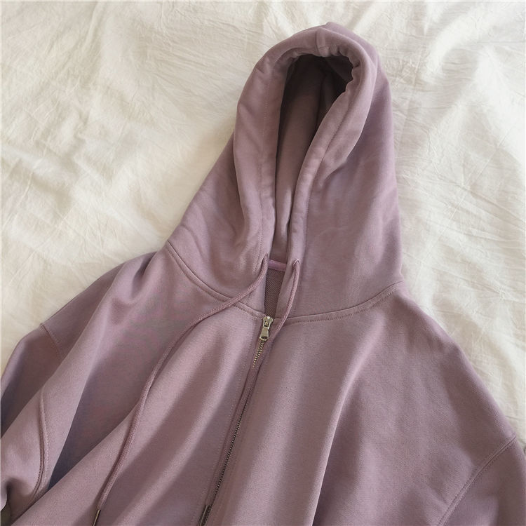 Ha83d75c2bebe44ae910b90c5dc05be2bU Harajuku with hat hoodies women zipper kangaroo pocket casual loose solid color sweatshirt female 2020 fashion new female s