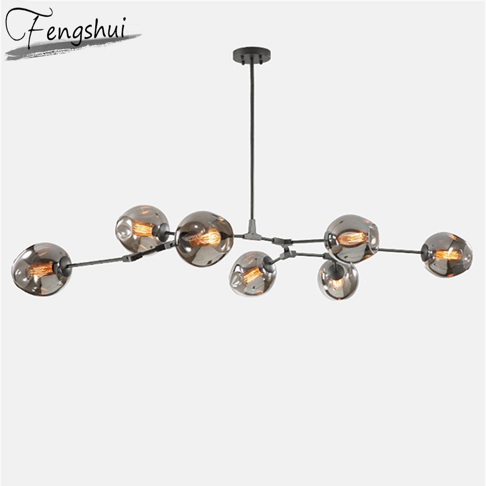Modern LED Chandeliers Glass Lamp Living Room Villa Clothing Indoor Decor LED Chandeliers Lighting Kitchen Fixtures Hanging Lamp