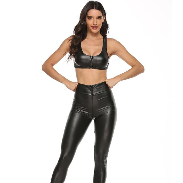 2PCS/Set Sexy PU Zipper Open Crotch Latex Pencil Pants With Vest Shiny Exotic Apparel High Elastic Clubwear Sex Party Costumes 3