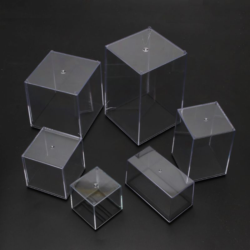 Clear Acrylic 5 Side Display Cube Box Dustproof Protect Case For Action Figures