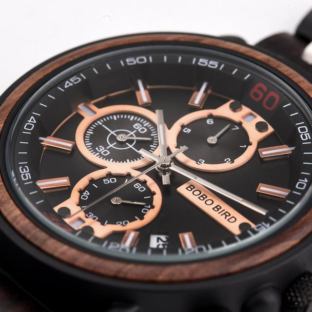 BOBO BIRD Wooden Men's Top Brand Stylish Military Chronograph Calendar Waterproof Quartz Watches 2