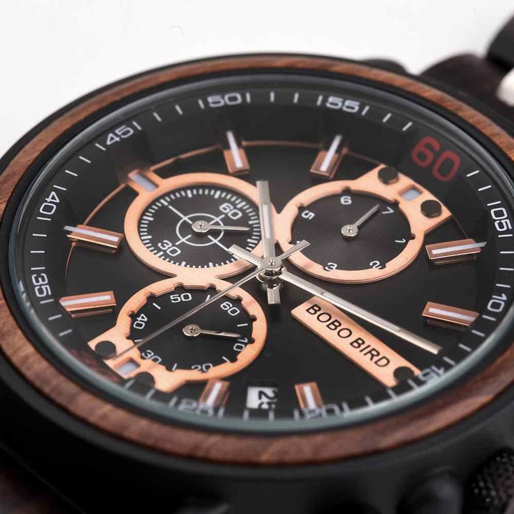 Reloj de madera para hombre, reloj Masculino, reloj de madera para hombre, reloj de lujo con estilo, cronógrafo militar, caja de madera, reloj para hombre