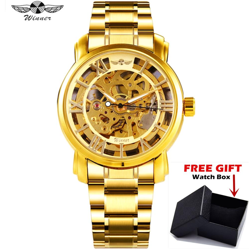 WINNER Fashion Luxury Men Golden Automatic Self-Wind Mechanical Watch Stainless Steel Skeleton Dial Clock
