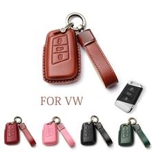For Skoda Superb A7 KODIAQ For Volkswagen VW Passat Tiguan Atlas Golf B8 Genuine Leather Car Key Fob Case