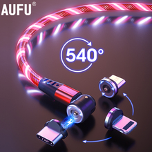 LED Flowing Light Charging Magnetic USB Cord Glow Type C Cable Magnetic Cable Micro Charger Cable Wire for iPhone Huawei Samsung