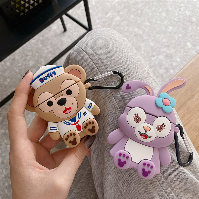 Case for AirPods Cute Cartoon Earphone Case for Apple Airpods 2 Silicone Accessories Protect Cover with Keychain Duffy Stellalou