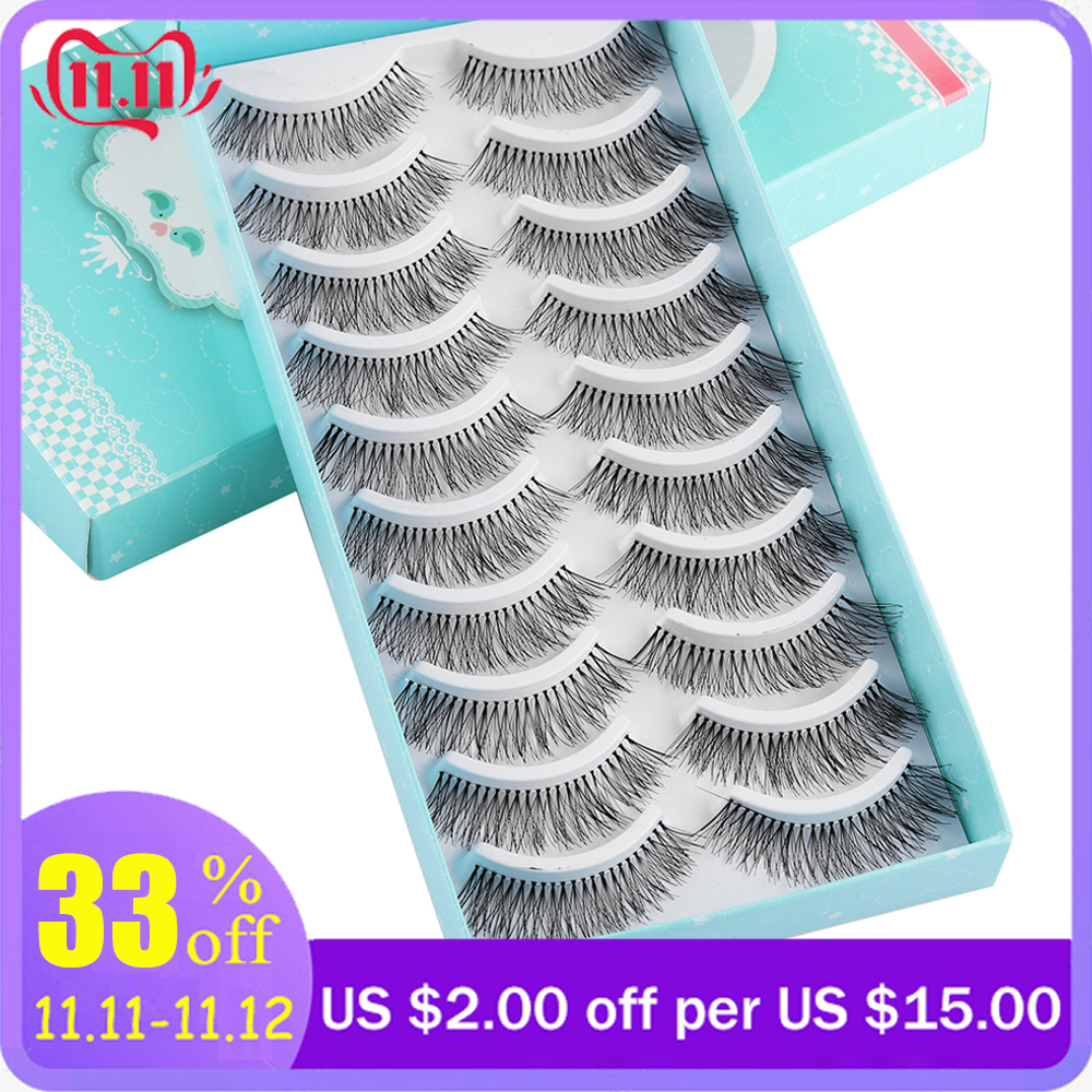 1/10Pairs Natural False Eyelashes Fake Lashes Wispy Thick Long Crisscross Lashes Extension Handmade Eyelash Charming Eyes Makeup
