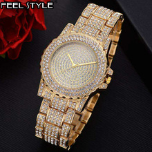 Iced Out Watches Luxury Date Quartz Wrist Watches With Micro