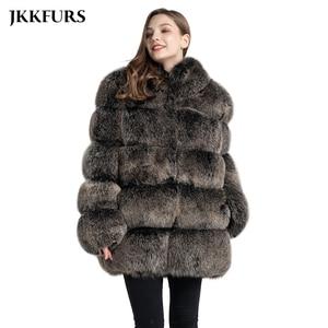 Image 1 - 여자의 진짜 여우 모피 코트 패션 스타일 2019 새로운 도착 고품질의 겨울 두꺼운 따뜻한 모피 자켓 겉옷 s7362