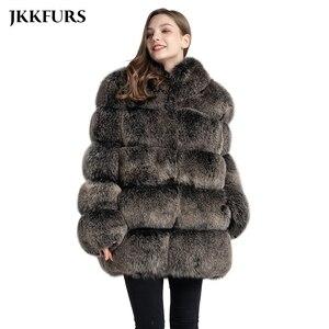 Image 1 - Abrigo de piel auténtica de zorro estilo de moda 2019 nuevas llegadas de alta calidad de invierno grueso cálido chaqueta de piel prendas de vestir exteriores S7362