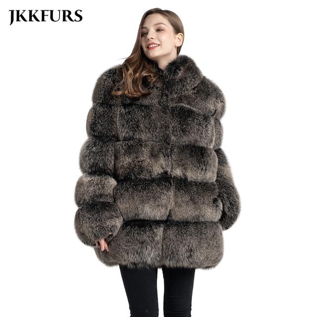 Kadın gerçek tilki kürk ceket moda stil 2019 yeni gelenler yüksek kalite kış kalın sıcak kürk ceket giyim S7362
