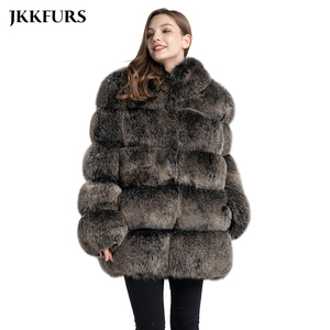 Image 1 - Womens Real Fox Fur Coat Fashion Style 2019 New Arrivals High Quality Winter Thick Warm Fur Jacket Outerwear S7362