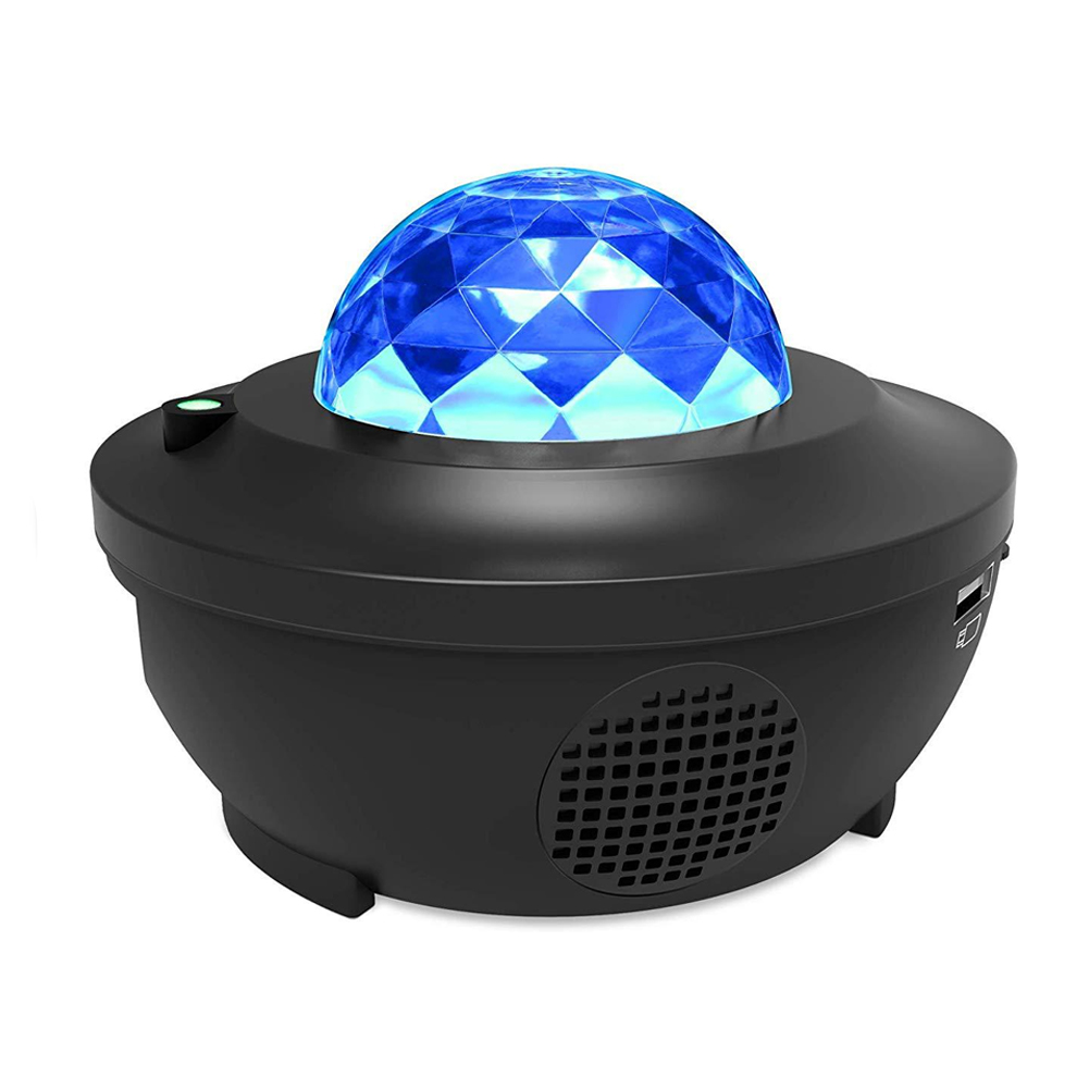 Voice Control Gifts USB Charging Projector Light Colorful LED Party Bluetooth Speaker Waterproof Water Wave Starry Sky Christmas