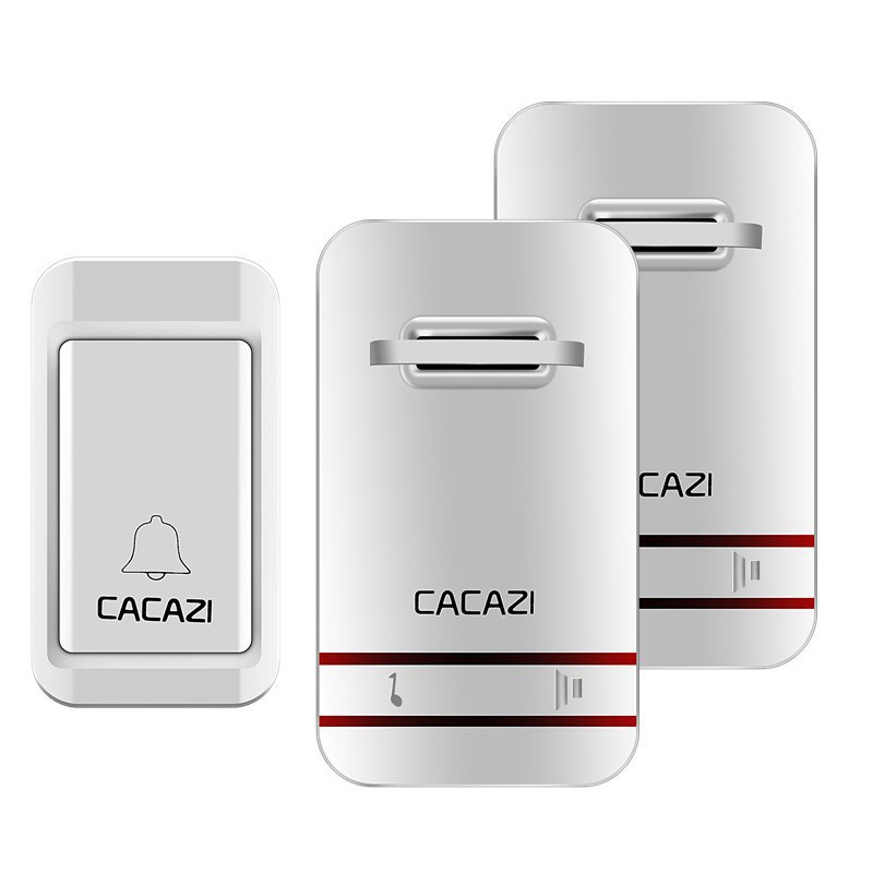 Cacazi Self-Powered Waterproof Wireless Doorbell Led Light No Battery Home Cordless Bell 1 Button 1 Receiver(Us Plug)