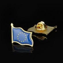 Unia europejska patriotyzm odznaka pozłacane macha przypinka do klapy flaga broszka nosić na garnitury i torby podróżne akcesoria DIY