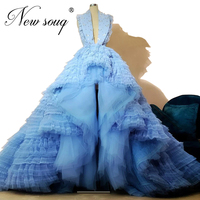 High Low Style Tulle Prom Dresses Sleeveless 2020 Turkish Moroccan Kaftans Evening Dress Beaded Girl Party Gown Saudi Arabia