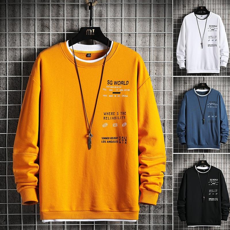 Yuvarlak boyun erkek Hoodie rahat baskı uzun kollu kazak erkekler Hip-Hop Streetwear Trendy kazak Harajuku tarzı sonbahar bahar
