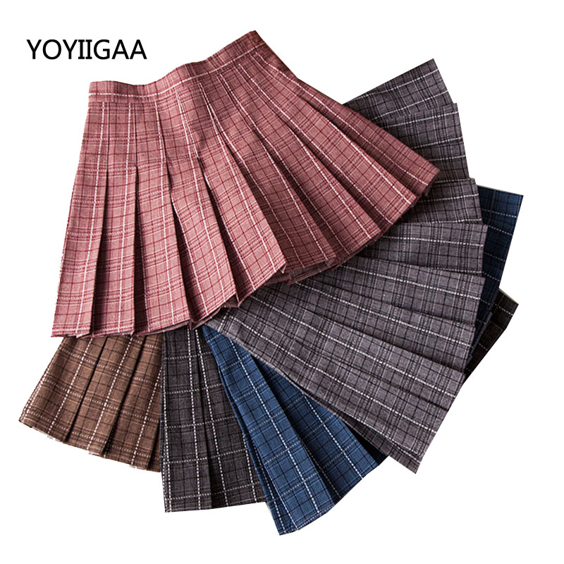 Plaid High Waist Skirts Women's Slim Pleated A Line Skirt Sweet Girls Ladies Dance Skirts Summer Fashion Mini Women Plaid Skirt